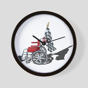 Checkered Flag and Wheelchair Wall Clock