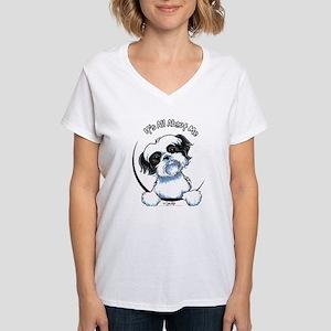 B/W Shih Tzu IAAM Women's V-Neck T-Shirt