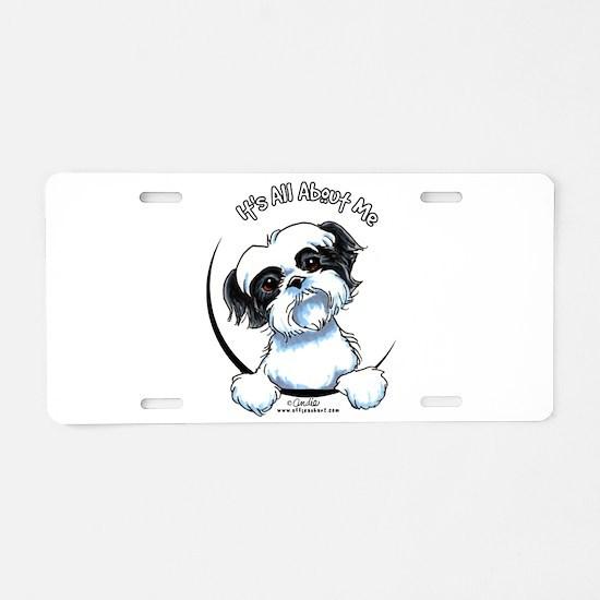 B/W Shih Tzu IAAM Aluminum License Plate