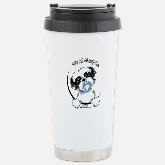 B/W Shih Tzu IAAM Stainless Steel Travel Mug