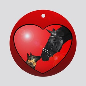 Dog & Horse Friends Christmas Ornament Red