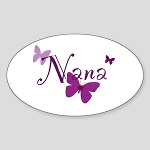 Nana Butterflys Sticker (Oval)