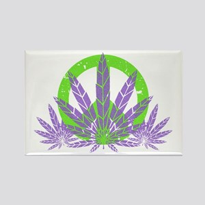 Peace With Purple Rectangle Magnet