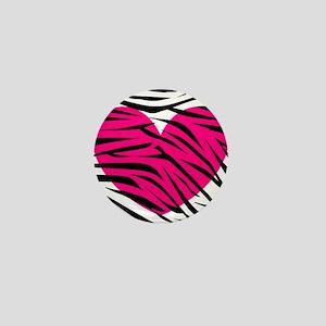 Hot pink heart in Zebra Stripes Mini Button