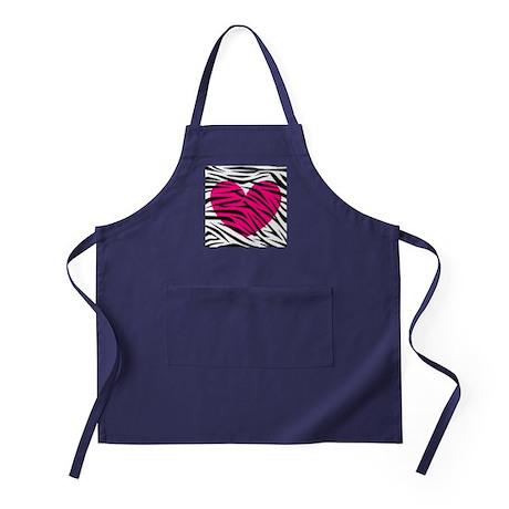 Hot pink heart in Zebra Stripes Apron (dark)