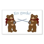 Teddy Bear Fencers Rectangle Sticker