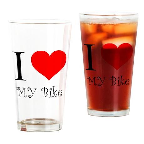 I Love my bike Drinking Glass