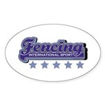 Fencing Team Spirit Oval Sticker