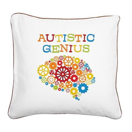 Autistic Genius Brain Square Canvas Pillow