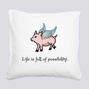 Flying Pig Square Canvas Pillow