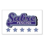 Sabre Fencing Rectangle Sticker