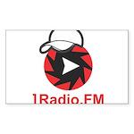 1Radio.FM - Dark Logo Sticker (Rectangle 50 pk)