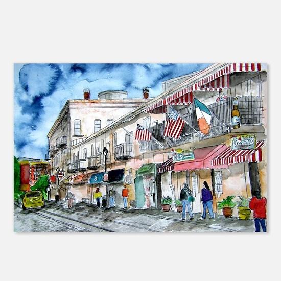 savannah river street painting Postcards (Package