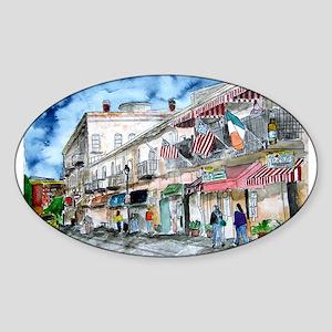 savannah river street painting Sticker (Oval)