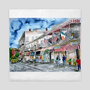 savannah river street painting Queen Duvet