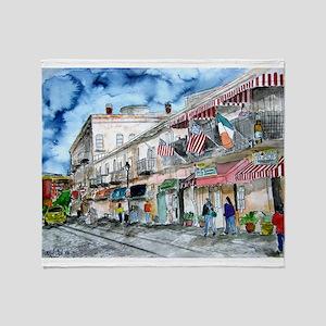 savannah river street painting Throw Blanket