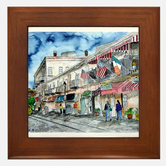savannah river street painting Framed Tile