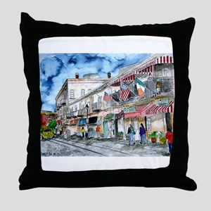 savannah river street painting Throw Pillow