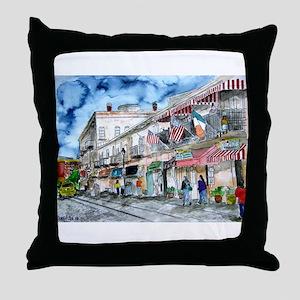 savannah river street painting Throw Pillow