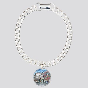 savannah river street painting Charm Bracelet, One