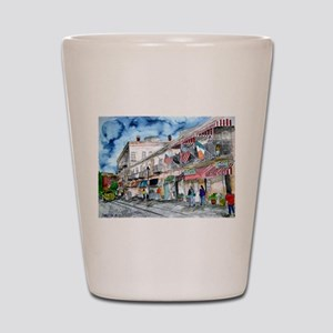 savannah river street painting Shot Glass