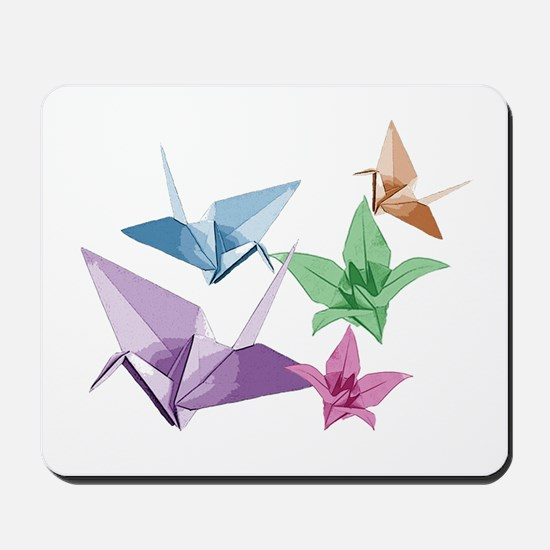 Origami composition lilies and cranes Mousepad