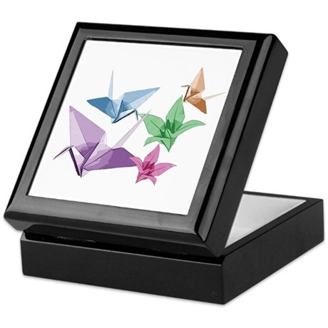 Origami composition lilies and cranes Keepsake Box