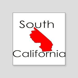 "South California Red State Square Sticker 3"" x 3"""