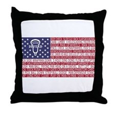 Lacrosse Defense Flag Throw Pillow