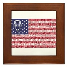 Lacrosse Defense Flag Framed Tile