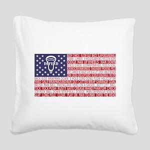Lacrosse Defense Flag Square Canvas Pillow
