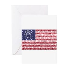 Lacrosse Defense Flag Greeting Cards