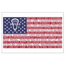 Lacrosse Defense Flag Posters