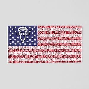 Lacrosse Defense Flag Aluminum License Plate