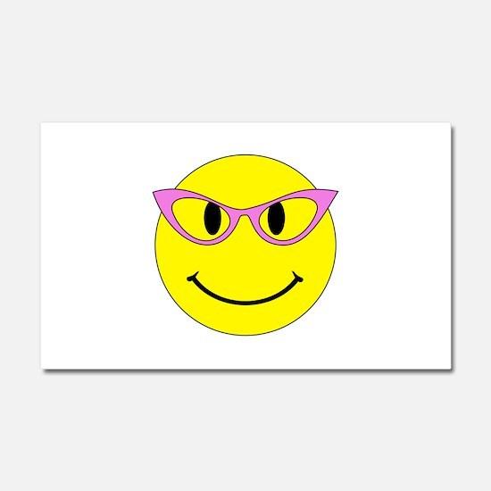 Smiley Face Pink Glasses Car Magnet 20 x 12