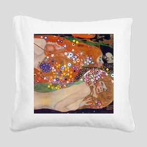 Gustav Klimt Water Serpents Square Canvas Pillow
