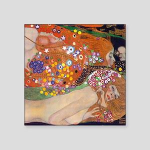 """Gustav Klimt Water Serpents Square Sticker 3"""" x 3"""""""