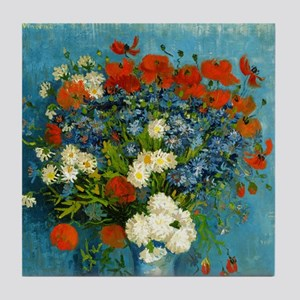 Van Gogh Cornflowers And Poppies Tile Coaster