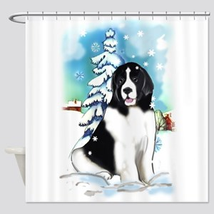Winter scene with Newf Shower Curtain