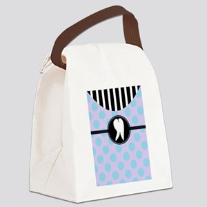Hygienst tooth blue polka dots Canvas Lunch Ba