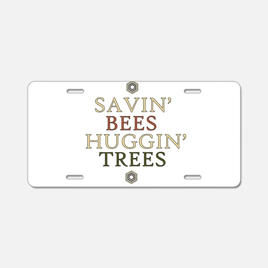 save the bees honey love Aluminum License Plate