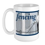 Fencing Blue Stripe Large Mug