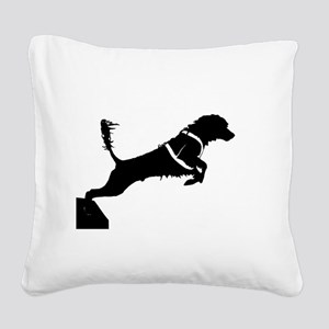 Portuguese Water Dog Jump Square Canvas Pillow