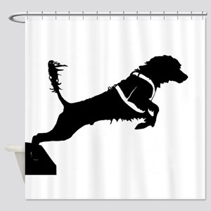Portuguese Water Dog Jump Shower Curtain