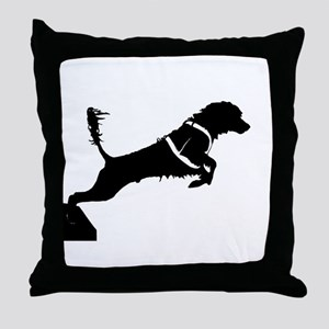 Portuguese Water Dog Jump Throw Pillow
