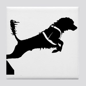 Portuguese Water Dog Jump Tile Coaster