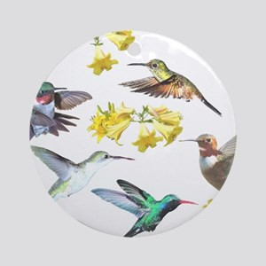 HUMMINGBIRDS AND TRUMPET PLANT Ornament (Round)