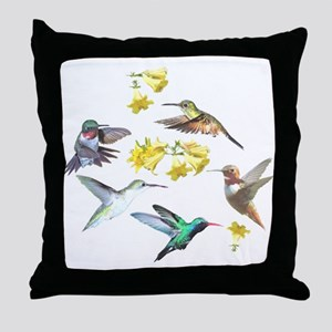 HUMMINGBIRDS AND TRUMPET PLANT Throw Pillow