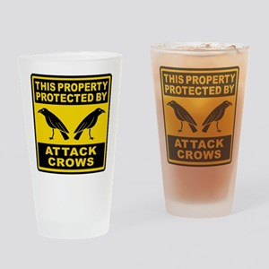 Protected By Attack Crows Drinking Glass