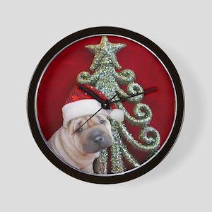 Christmas shar pei Wall Clock